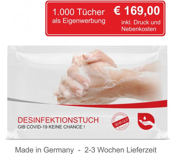 1.000 Desinfektionstücher inkl. 4C Digitaldruck als Eigenwerbung