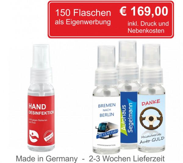 150 Stück Desinfektionsspray-30ml inkl. 4C Etikett als Eigenwerbung