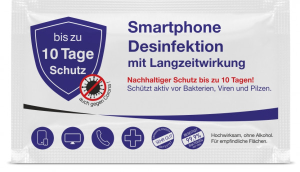 Smartphonedesinfektion mit Langzeitwirkung inkl. 4C Digitaldruck