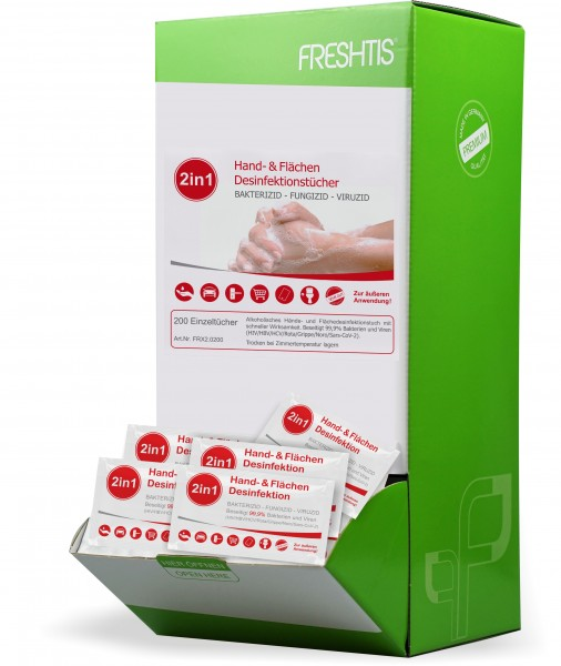 2in1 Desinfektionstücher 200er Box