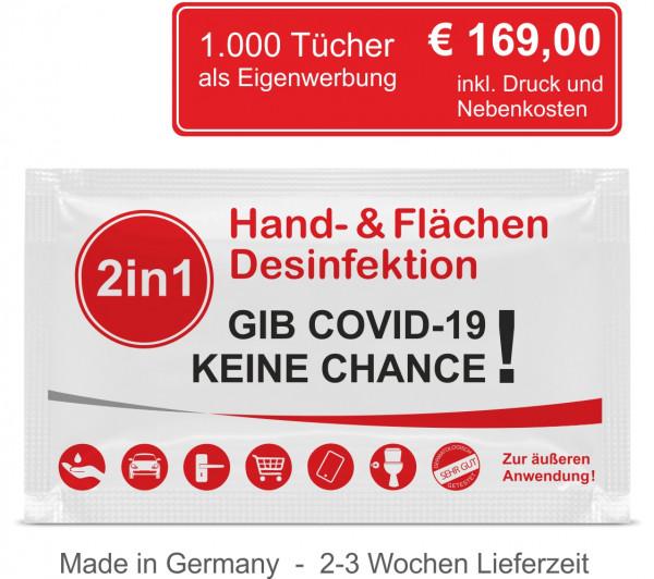 1.000 2in1 Desinfektionstücher inkl. 4C Digitaldruck als Eigenwerbung